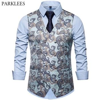 Mens Luxury Paisley Jacquard Suit Vest Double Breasted Dress Tuxedo Vest Prom Singer Dancer Waistcoat Performance Clothing Gilet