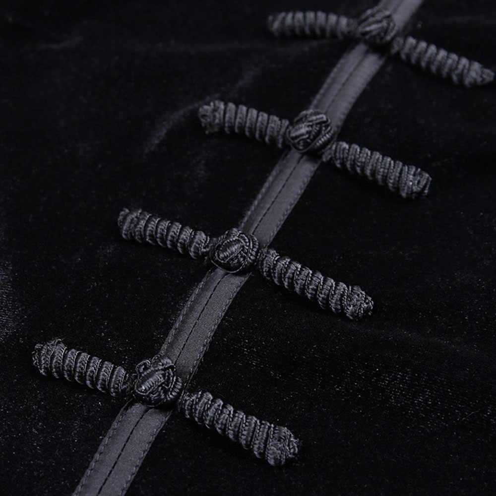 נשים חולצה & חולצות רטרו נשי Cheongsam צווארון חזרה רוכסן ארוך שרוול חם חולצות 2019 החדש גותי פאנק ילדה חולצות