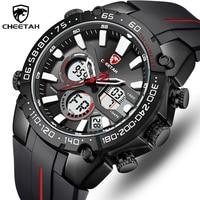 CHEETAH-reloj deportivo de lujo para hombre, cronógrafo de cuarzo de silicona, con pantalla LED, fecha automática, resistente al agua, masculino