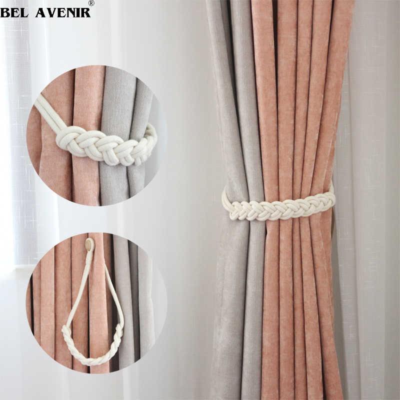 1 Uds soporte de cortina hecho a mano de algodón blanco tejido magnético cortina Tieback hebilla cuerda Holdback cortinas decoración del hogar