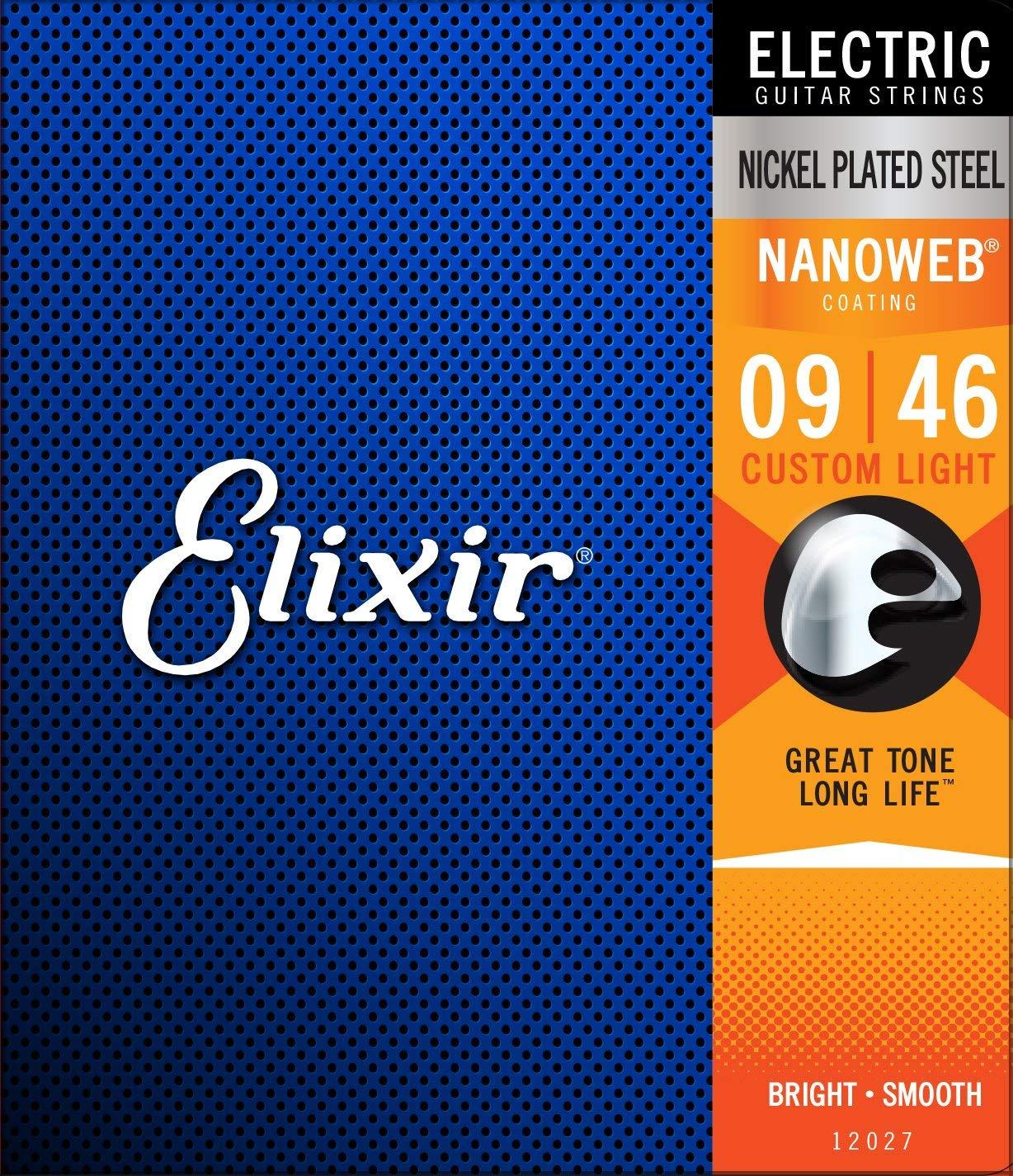 Elixir Strings 12027 Electric Guitar Strings W NANOWEB Coating, Custom Light (.009-.046)