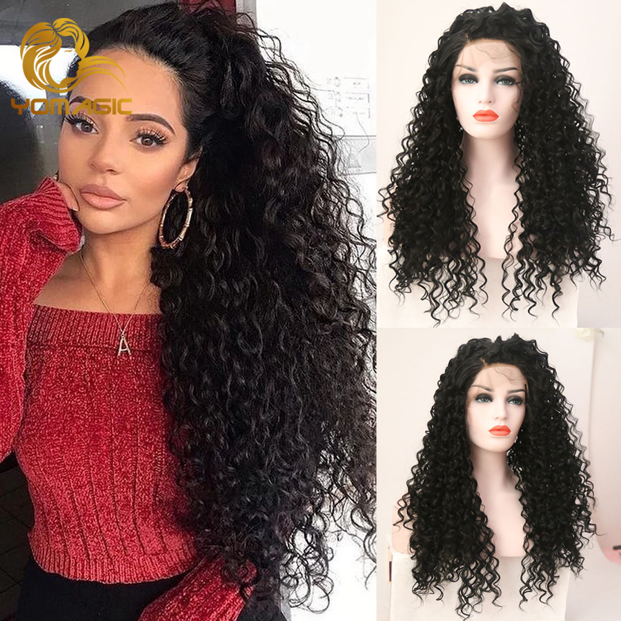 Yomagic Hair Jerry Curly Glueless Lace Wig Baby Hair Black Color Synthetic Hair Lace Front Wigs With Natural Hairline Hair