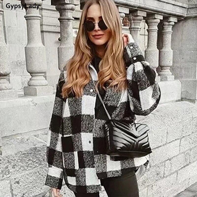 Винтажная клетчатая Свободная куртка gypsylady женская повседневная