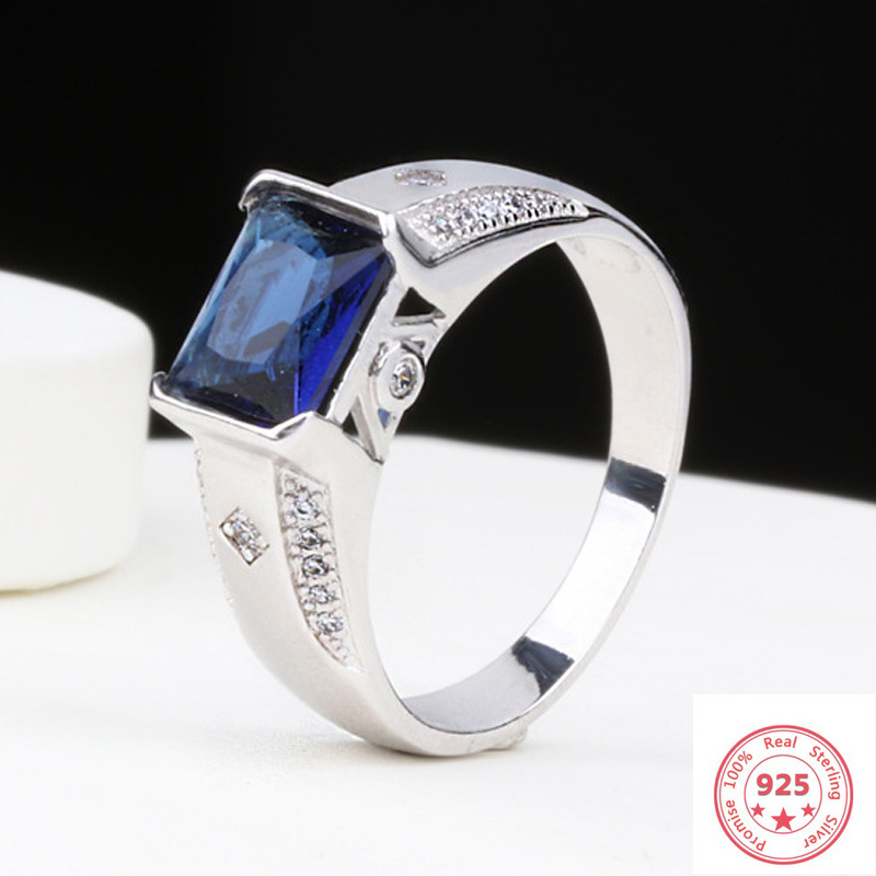 925 Sliver Blue Sapphire Jewelry Diamond Ring For Men Anillo Wedding Bizuteria Blue Gemstone Silver 925 Jewelry Diamond Ring Box
