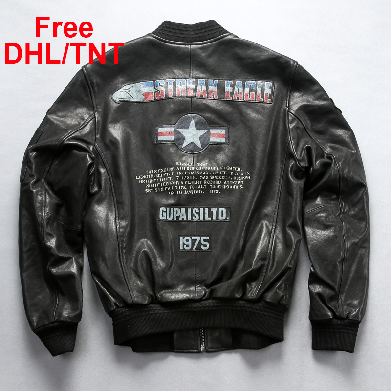Men's Genuine Leather Air Force Flight Jacket Vintage Classic MA1 Baseball Sheepskin Jacket for Male Large Size Free DHL/TNT