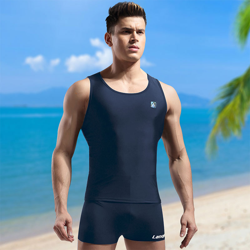 Men Swimming Tops Tight Sun-resistant Quick-Dry Industry Shorts Set Split Type Boxer Goggles Swimming Cap Swimming Bag Fashion