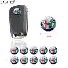 Logotipo de llave para coche, insignia de salida de aire acondicionado de 14mm, pegatina para ALFA ROMEO Mito 147 156 159 166 Giulietta Spider GT
