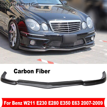 AMG Style Real Carbon Fiber Car Front Spoiler Bumper Lip Chin For Mercedes-Benz E-Class W211 E230 E280 E350 E63 2007-2009   M176 1