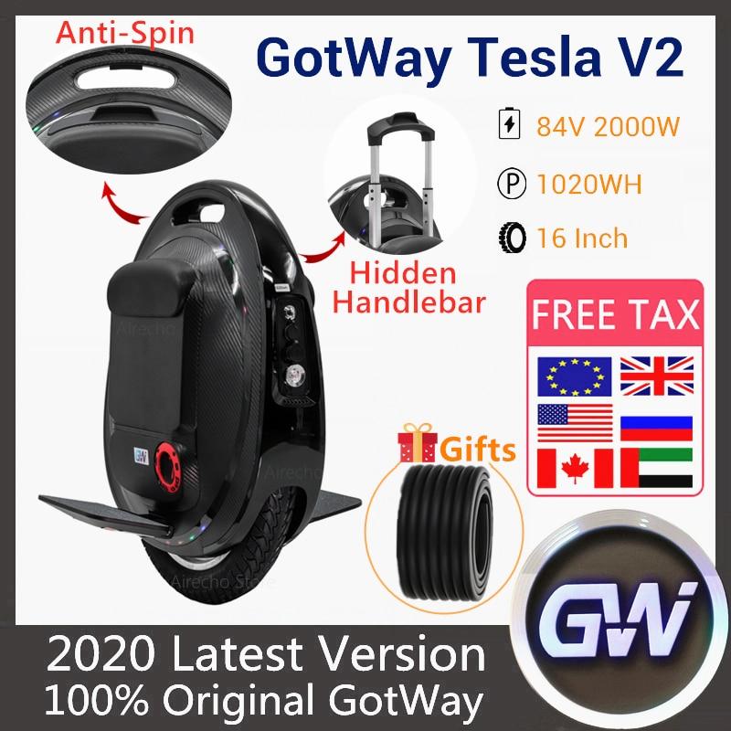 """2020 最新 gotway テスラ 2 自己バランススクーター 2000 ワットモータ 84 v 1020WH 16 """"タイヤ 100km マイレージ一輪車電動スケートボード -"""