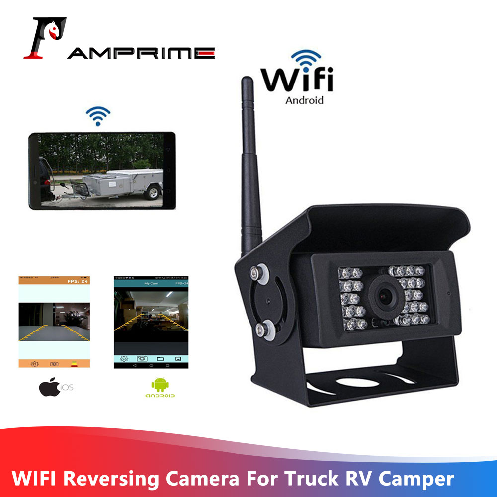 AMPrime WIFI Reversing Camera Dash Cam For Truck RV Camper Trailer Vehicle Rear View Camera Work With Iphone Or Andriod Devices