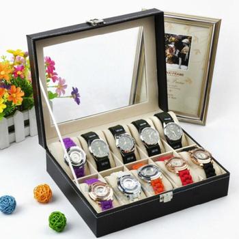 10 slotów PU Leather luksusowe drewniane pudełko na zegarek do zegarków mężczyzn szklanym wieczkiem uchwyt na zegarek kolekcja biżuterii przechowywania organizator zegarków tanie i dobre opinie CN (pochodzenie) Pudełka do zegarków Moda casual Nowa z metkami watch organizer Rectangle 20cm Drewna 25cm Wymieszane materiały