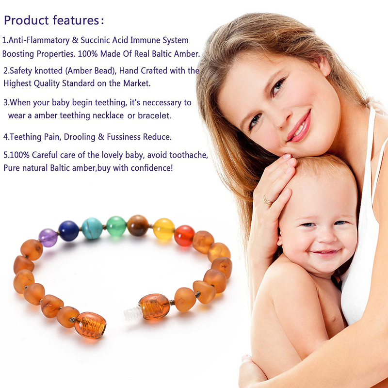 HIYONG Baltic Amber Teething Bracelet Anklet for Baby Chakra bead Natural Amber Handmade Original Bracelets Jewelry Wholesale in Bracelets Bangles from Jewelry Accessories