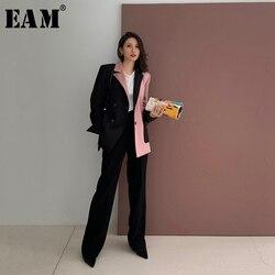 Женский контрастный Блейзер EAM, черный свободный пиджак с отложным воротником и длинным рукавом, весна-осень 2020, 1W482, большие размеры