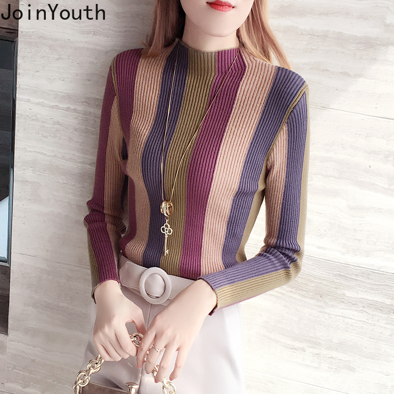 JoinYouth 2019 Vertical Striped Pullovers Vintage Half Turtleneck Slim Women Sweaters Autumn Winter Clothes Fashion Tops J271