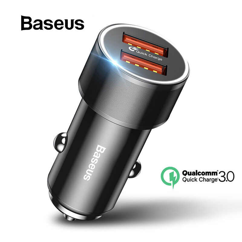 BASEUS 36W Dual USB Charge Cepat QC 3.0 Charger Mobil untuk iPhone USB Tipe-C PD Charger Cepat ponsel Cepat Charger Mobil Charger