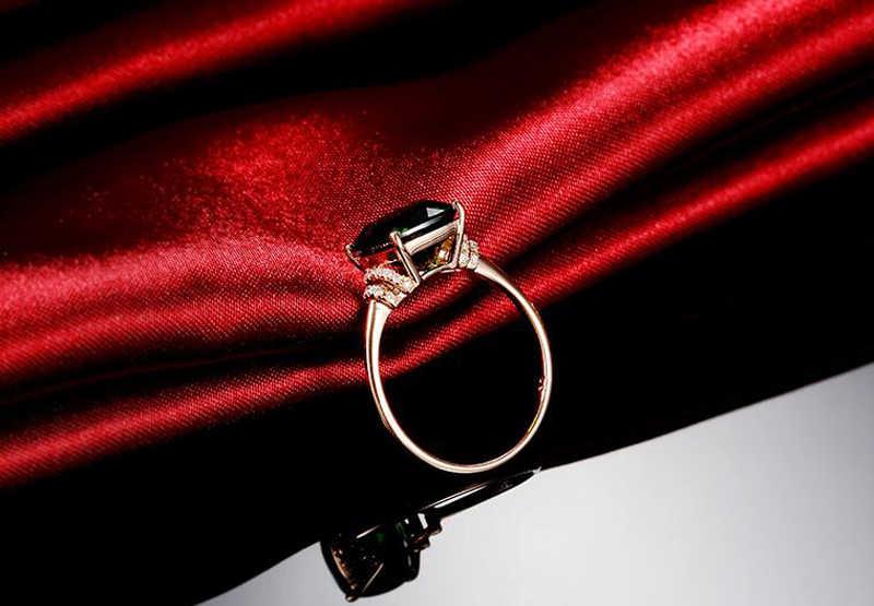 YANHUI 18K الذهب اللون الطبيعي الزمرد خواتم للنساء خمر الفضة الحقيقية 925 خاتم مجوهرات الزفاف العلامة التجارية الذكرى هدايا الحفلات
