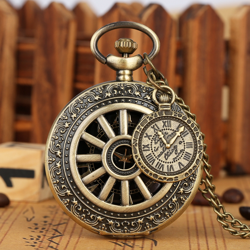 Bronze Hollow Wheel Gear Case Quartz Pocket Watch Retro Roman Numeral Dial Men Women Necklace Pendant Chain Clock With Accessory
