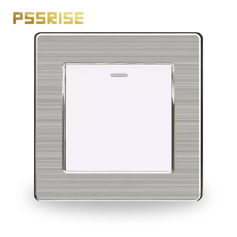 S06 PSSRISE 1 Gang 1 Way Wall Switch Push-button Switch Light Switch Stainless Steel Panel Fluorescent 16A AC 250V