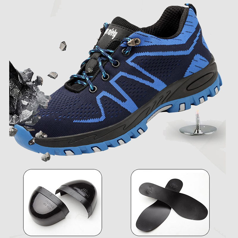 Work Boots Lightweight Breathable Men Safety Shoes Steel Toe Work Shoe Outdoor Anti-smashing High Quality Male Construction Boot