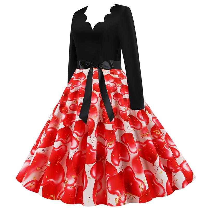 Women Long Sleeve Winter Vintage Dresses Sexy Black Music Note Print V-neck Rockabilly Pin up Party Dress Vestidos Plus size 638