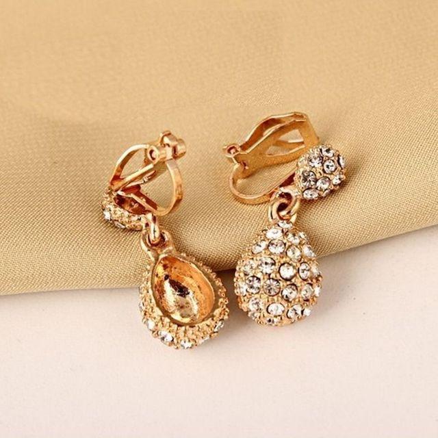 Jiofree coreia strass clipe de ouro brincos para festa de casamento nupcial feminino brincos jóias 4