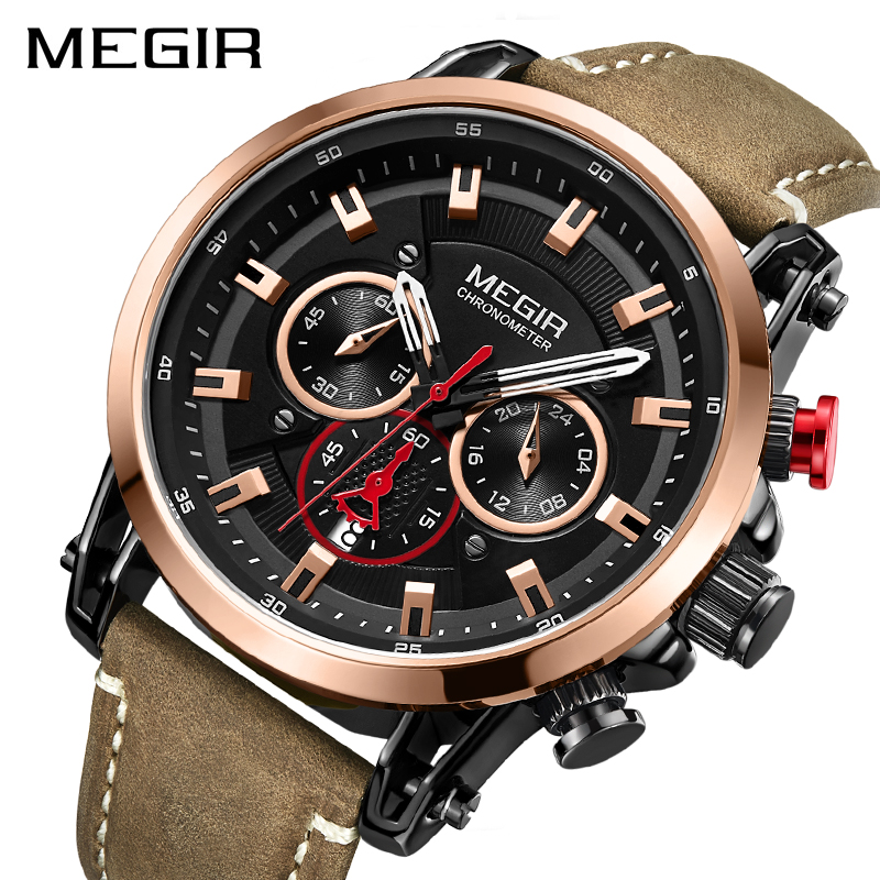 2020 MEGIR Fashion Mens Watches Top Brand Luxury Big Dial Military Quartz Watch Leather Waterproof Sport Chronograph Watch Men