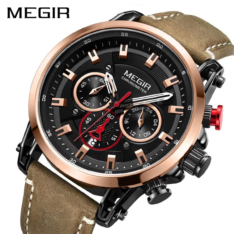 2020 MEGIR Fashion Mens Watches Top Brand Luxury Big Dial Military Quartz Watch Leather Waterproof Sport Chronograph Watch Men