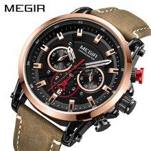 2020 MEGIR Fashion Mens Watches Top Brand Luxury Big Dial Military Quartz