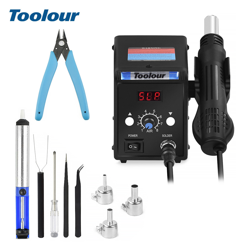 Toolour 700W 220V/110V 858D BGA  LED Digital Display Soldering Rework Station Heat Air Gun Desoldering Pump Nozzle Welding Tools|Heat Guns| |  - title=