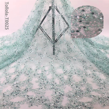 Hot Sale 2019 high quality african tulle lace fabric Wholesale sequins French net lace fabric for Nigeria wedding