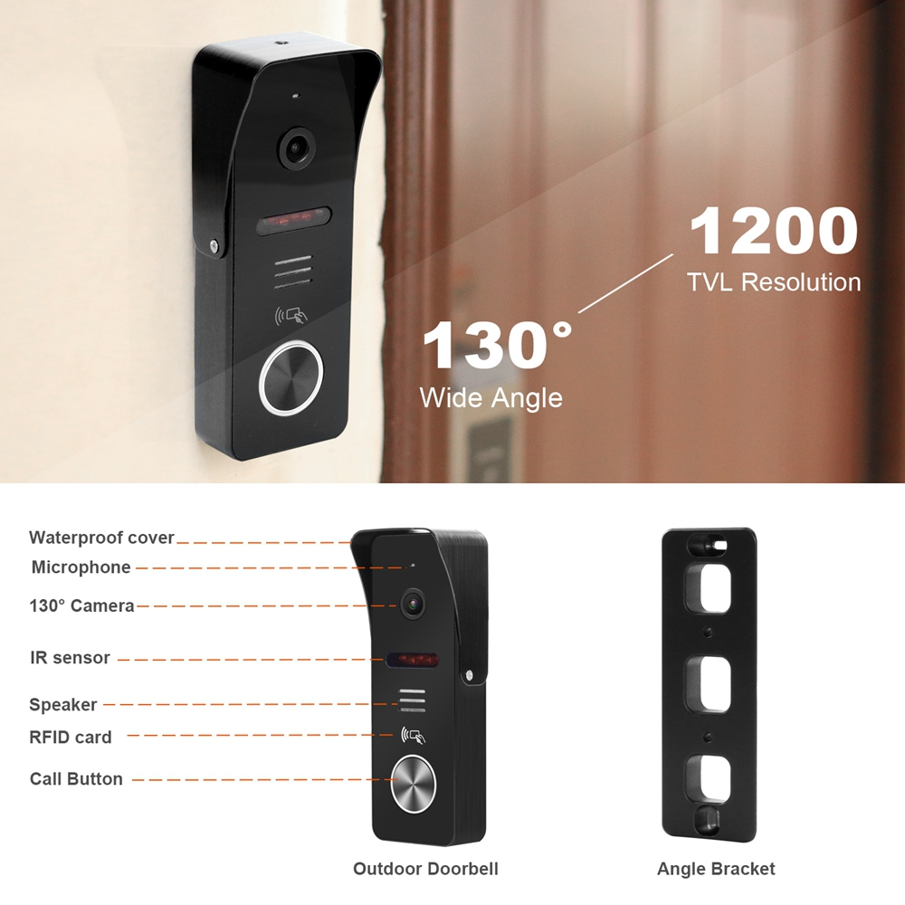 Image 5 - HomeFong 7 inch Video Door phone  System  Support Motion Detect Recording 130° Doorbell Camera for home video doorbell With LockVideo Intercom   -