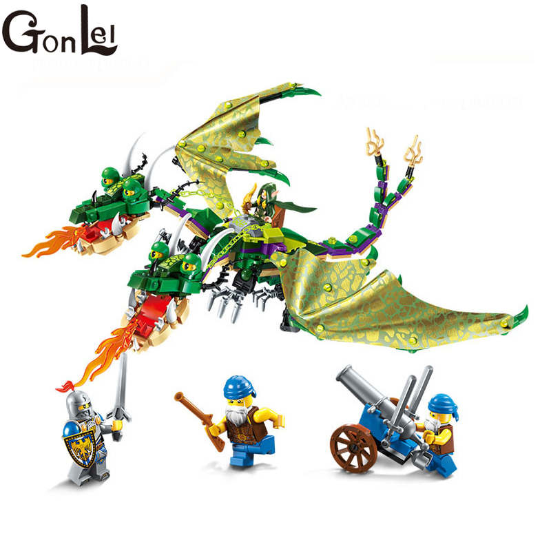 Compatible <font><b>Legoinglys</b></font> Building Block War of Glory <font><b>Castle</b></font> Knights twin-headed <font><b>dragon</b></font> Jakiro 4 486pcs Educational Bricks Toy Boy image