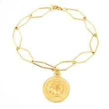 100% Rvs Coin Charm Armband Voor Vrouwen Goud/Zilver Kleur Metal Heilige Benedictus Medaille Charme Pulseras Mujer