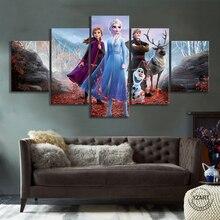 5pcs 냉동 2 만화 영화 포스터 캔버스 회화 HD 만화 벽 그림 벽 예술 홈 장식