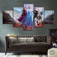 5pcs Frozen 2 Cartoon Movie Poster Canvas Paintings HD Cartoon Wall Picture Wall Art Home Decor