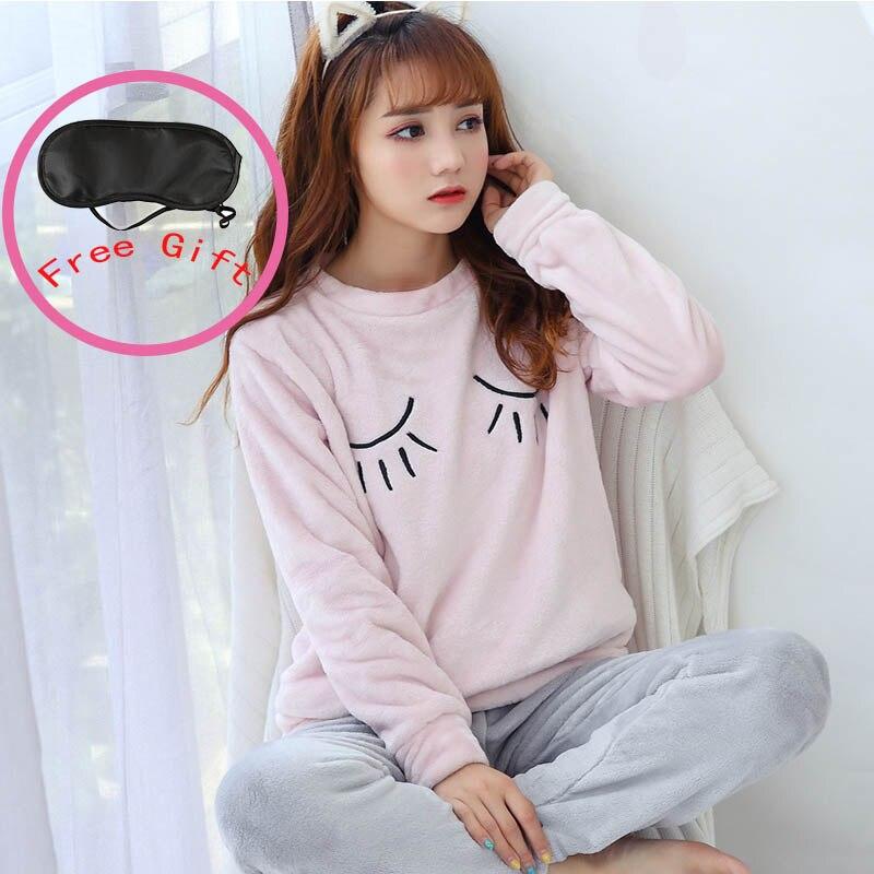 Winter Women   Pajamas     Sets   Cartoon Sleepwear Suit Thick Warm Coral Flannel Night Clothes Animal Pijama Mujer Homewear Pyjamas   Set