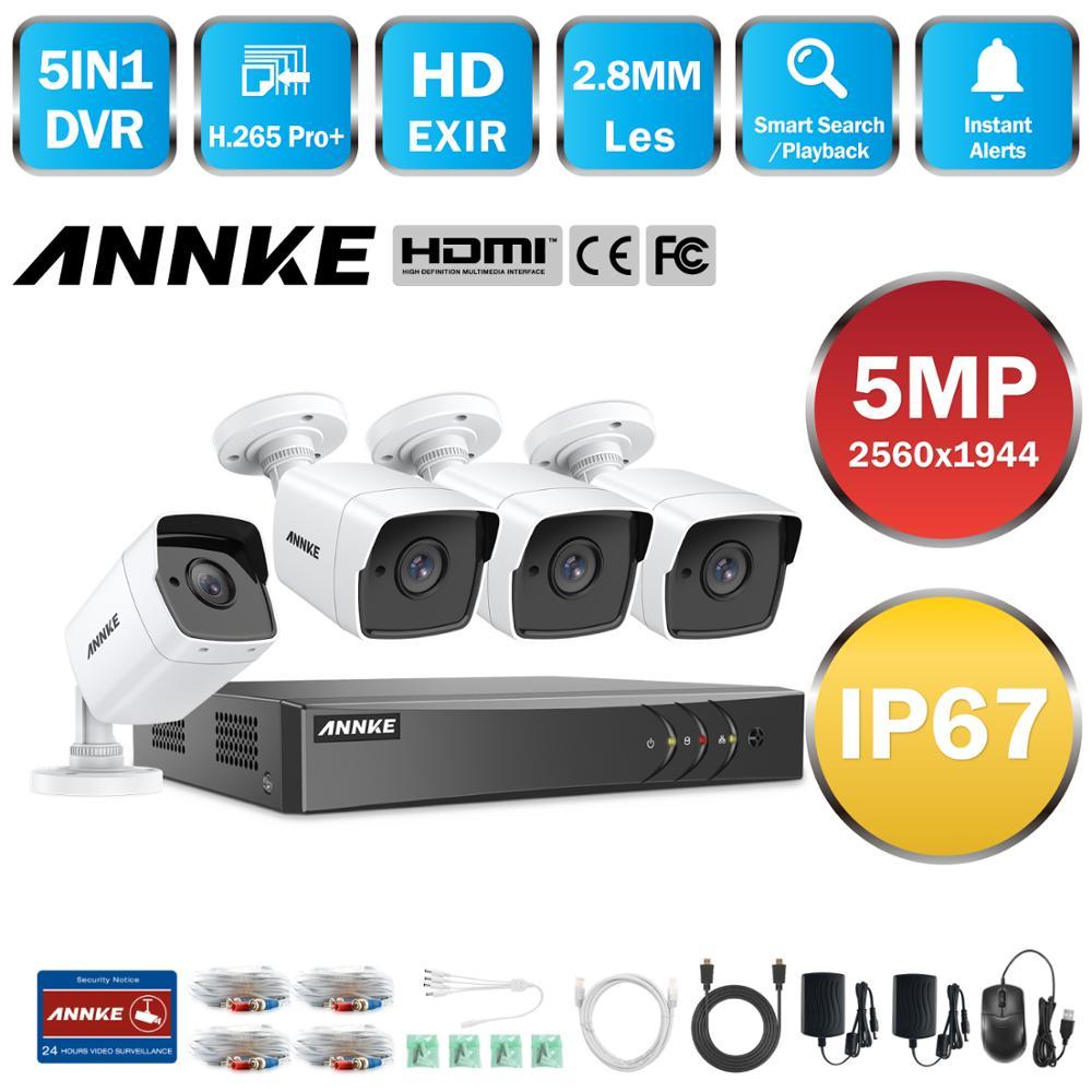 Annke 8ch 5mp lite hd sistema de câmera cctv 5in1 5mp lite h.265 + dvr com 4x 5mp sistema vigilância segurança ao ar livre à prova de intempéries