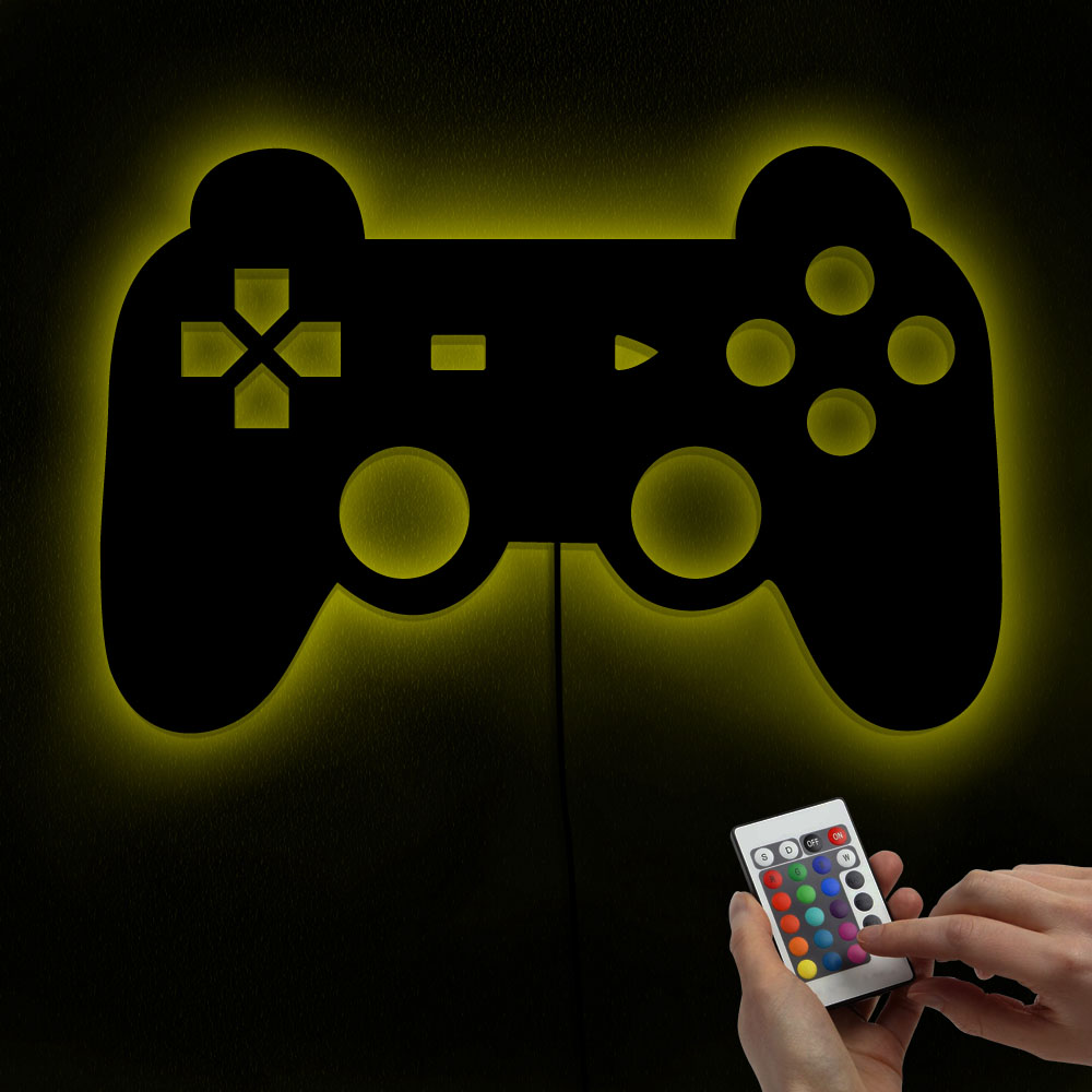 Color Changing LED Lighted Playstation Controller Mirror with Lights Video Game Art Gamer Joystick Decals Kid Room Nursery Lamp