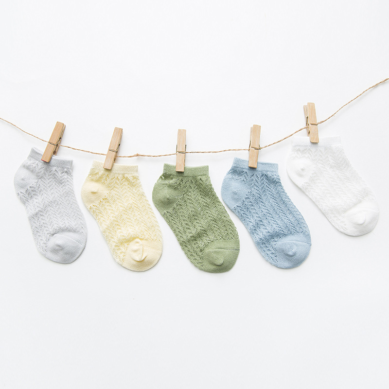 19 Summer New Style Punched Sheet Holes Tong Duan Wa Cotton Cool Thin Baby No-show Socks Solid Color Cathy Children's Socks