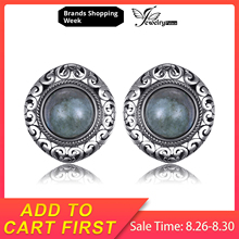 JewelryPalace Vintage 2.4ct Genuine Labradorite Carved Stud Earrings 925 Sterling Silver Earrings Gemstone Jewelry for Women modian genuine silver earrings for women 925 sterling silver stud earrings silver 925 with colorful fantastic jewelry