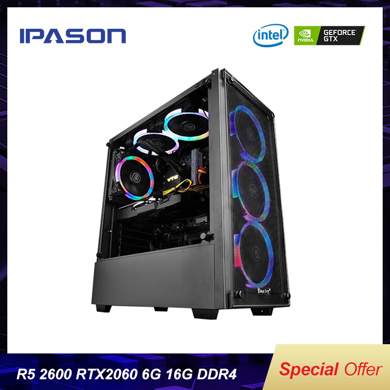 BEST Cost-effective Gaming PC IPASON AMD 6-Core Ryzen5 2600/Dedicated Card RTX2060 6G/DDR4 16G RAM/1T+120G SSD Desktop Computer image
