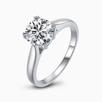 2 Carat Round Cut Engagement Ring for Women Sona Created Solid Sterling 925 Silver Wedding Promise Ring Fine Jewelry colorfish new unique design three stone wedding ring round cut sona 925 sterling silver for women engagement ring lovers promise