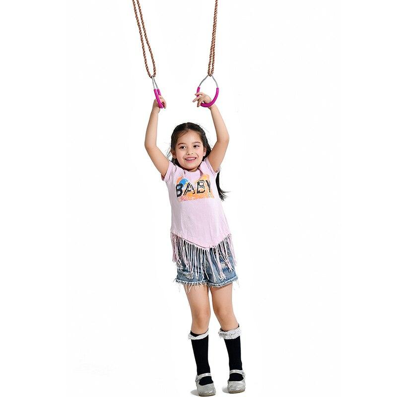 Children Trapeze Bar Pull Up Rings Kids Handshake Iron Plastic Fitness Pull Ring Outdoor Sport Playground Home Swing Equipment