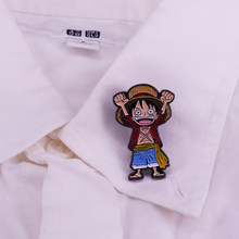 Monkey D Luffy Emaille Pin Japanse Cartoon EEN STUK Broche Populaire Anime Cosplay Game Rol Badge(China)