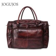цена на JOGUJOS Men's Handbag Travel Bag Genuine Leather Vintage Men Duffel Bag Luggage Travel Bag Large Capacity Leather Shoulder Tote