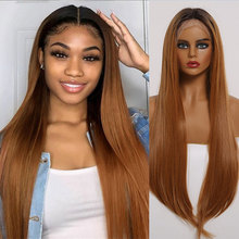 Long Straight Ombre Brown Lace Wigs with Baby Hair Front Lac