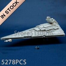 75252, имперский разрушитель, серия Звездных войн, серия UCS, 5278 шт., модель, строительные блоки, игрушки, совместимые с 81098, игрушки