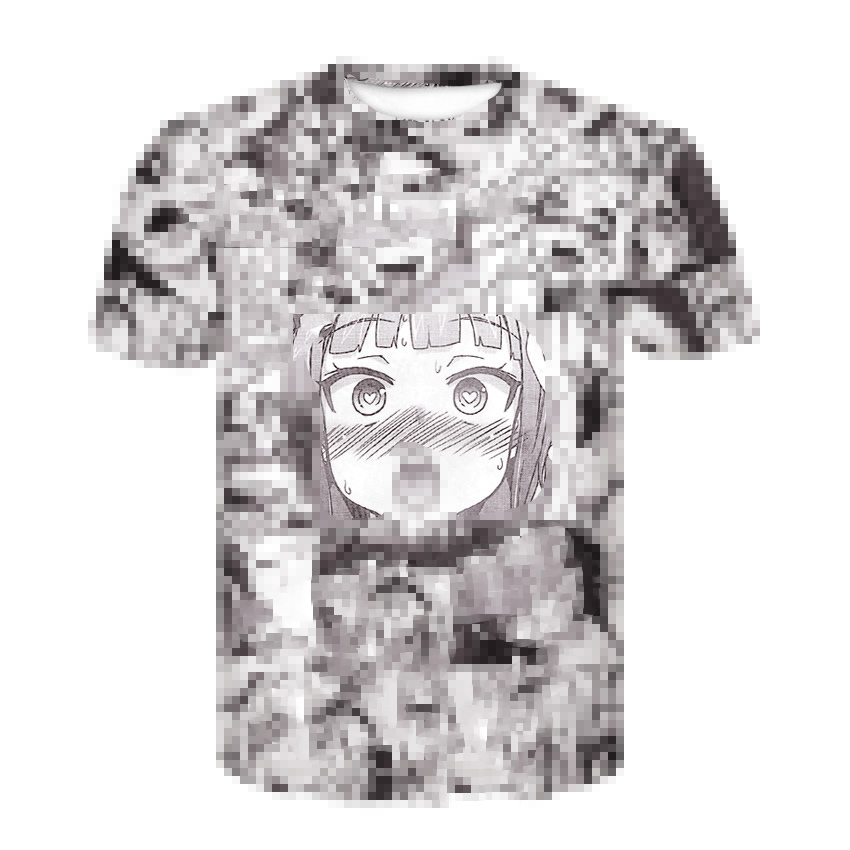 Ahegao T Shirt Summer 2019 Anime Top Short Sleeved Fashion T-shirt Hip Hop Short Sleeved Fun Casual T-shirts For Men And Women