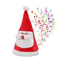 Electric Singing Dancing Plush Santa Hat Christmas Hat Plush Toy with Colored Lights Swing Size Adjustable Christmas Hat spiral style plush christmas hat red white