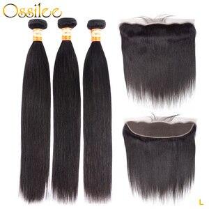Прямые человеческие волосы Ossilee, пряди с фронтальным закрытием, бразильские волосы, волнистые пряди, низкое соотношение, волосы remy, пряди Wtih